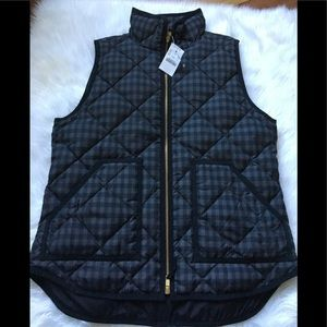 J. Crew Factory Plaid Quilted Puffer Vest Small